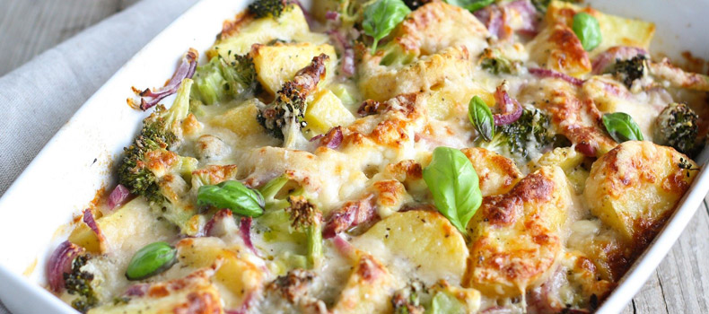 Chicken, broccoli and potato bake
